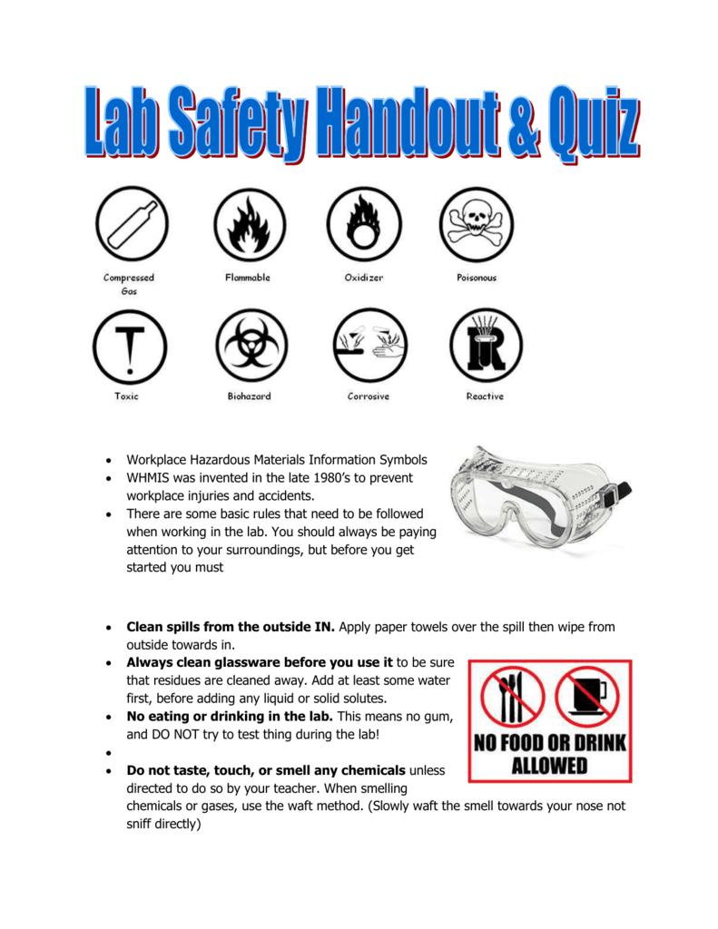 Lab Safety Whmis Handout Quiz Sarahmackenzie