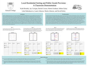 Local Residential Sorting and Public Goods Provision