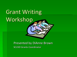 Grant Writing Workshop - Sacramento City Unified School District