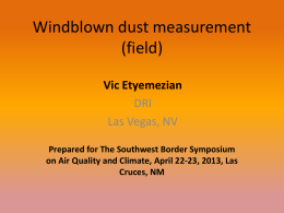 Windblown Dust Measurement (Field)