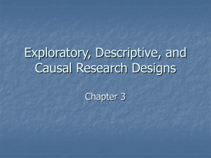 Chapter 3: Exploratory, Descriptive, and Causal Research Designs