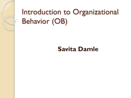 Introduction to Organizational Behavior (OB)