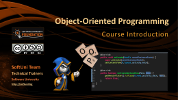 OOP: Course Introduction
