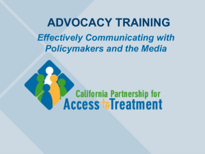 Effectively Communicating with Policy Leaders and the News Media