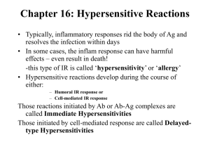 Chapter 16: Hypersensitive Reactions