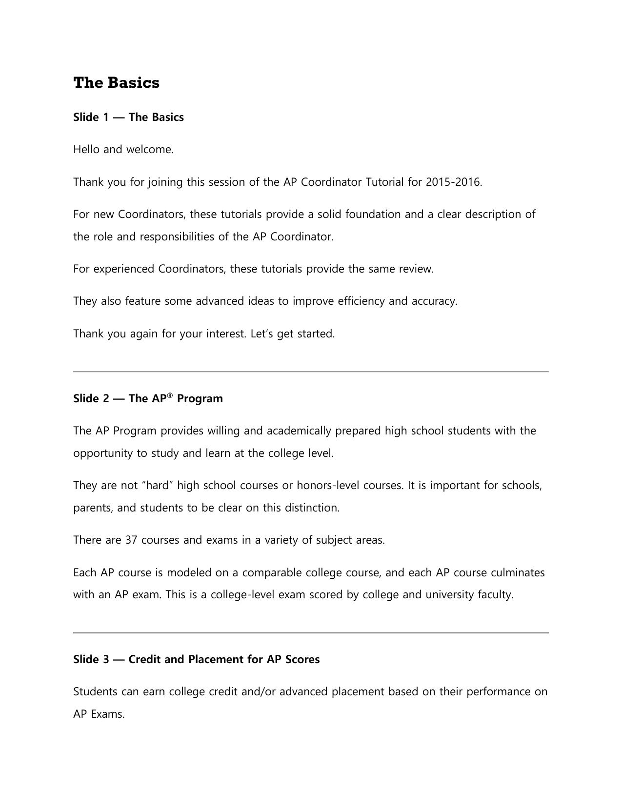 The Basics - The College Board