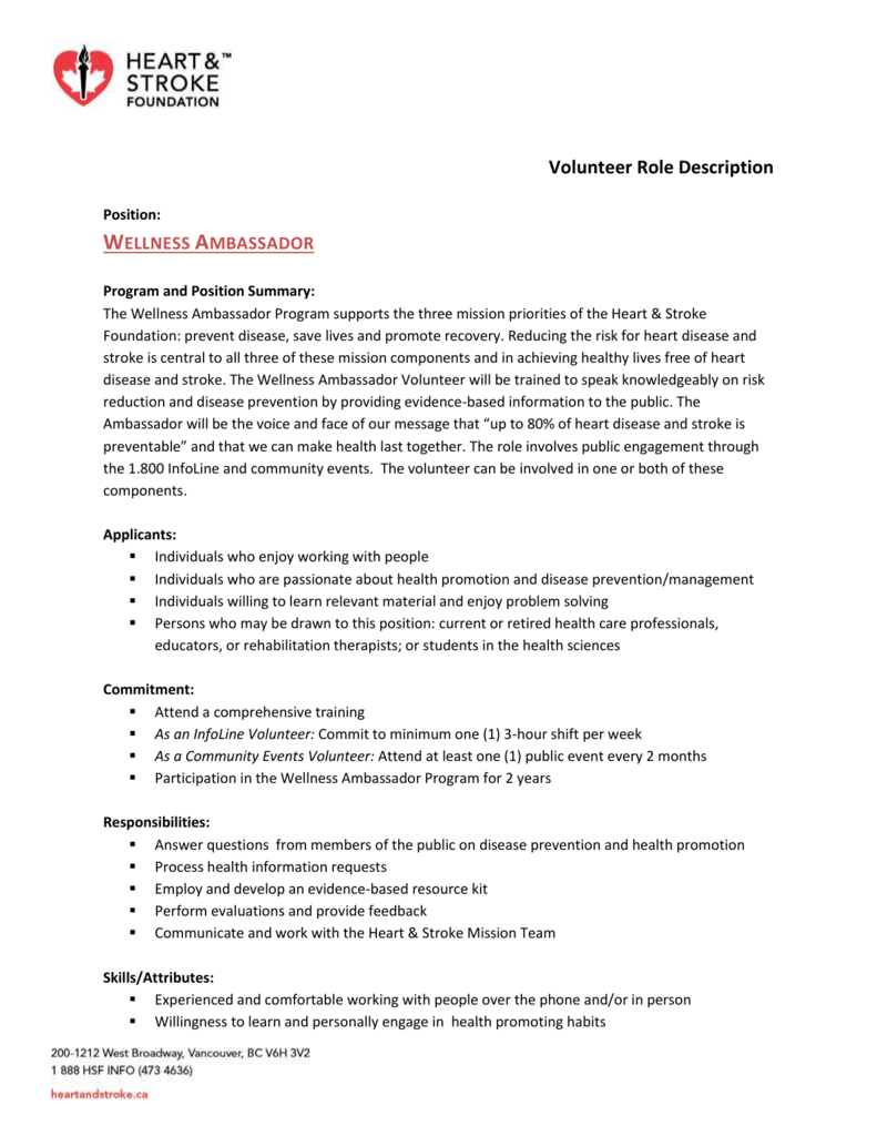 Volunteer Role Description