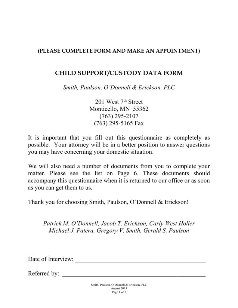 Data Form Custody Child Support Rev 2015 08 27