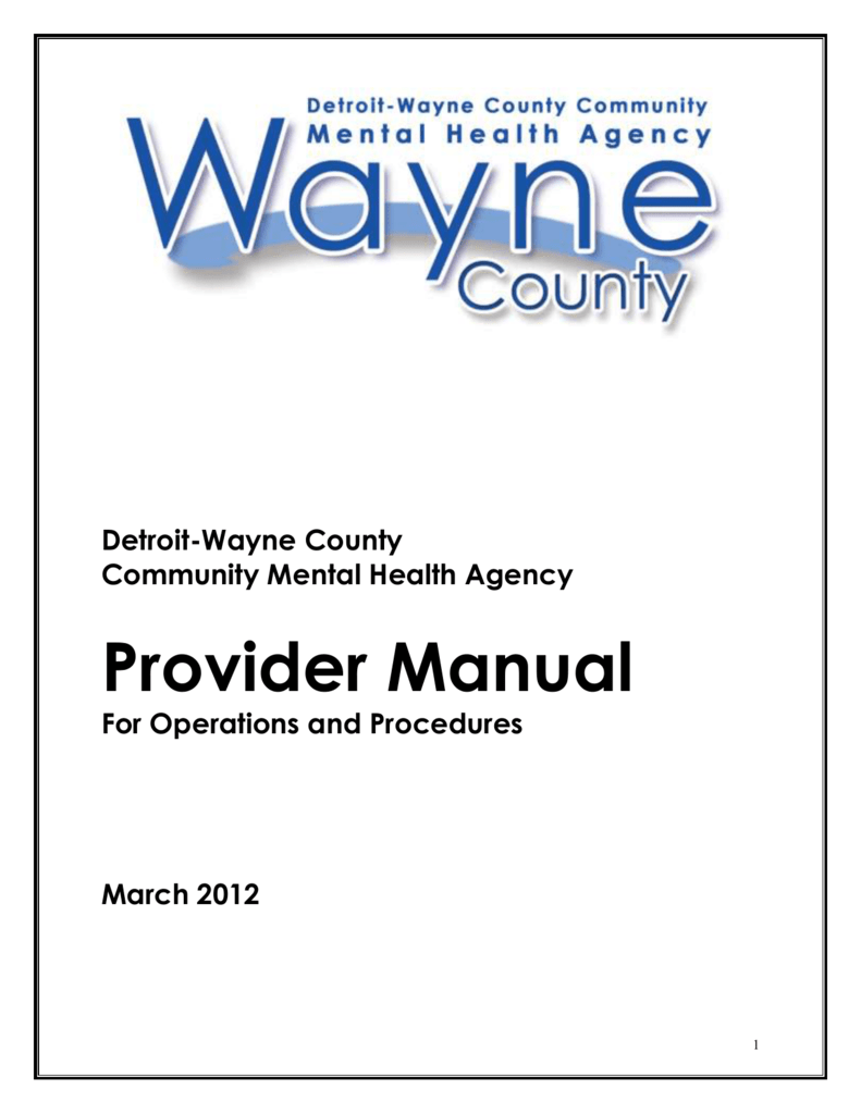 Provider Manual Detroit Wayne Mental Health Authority