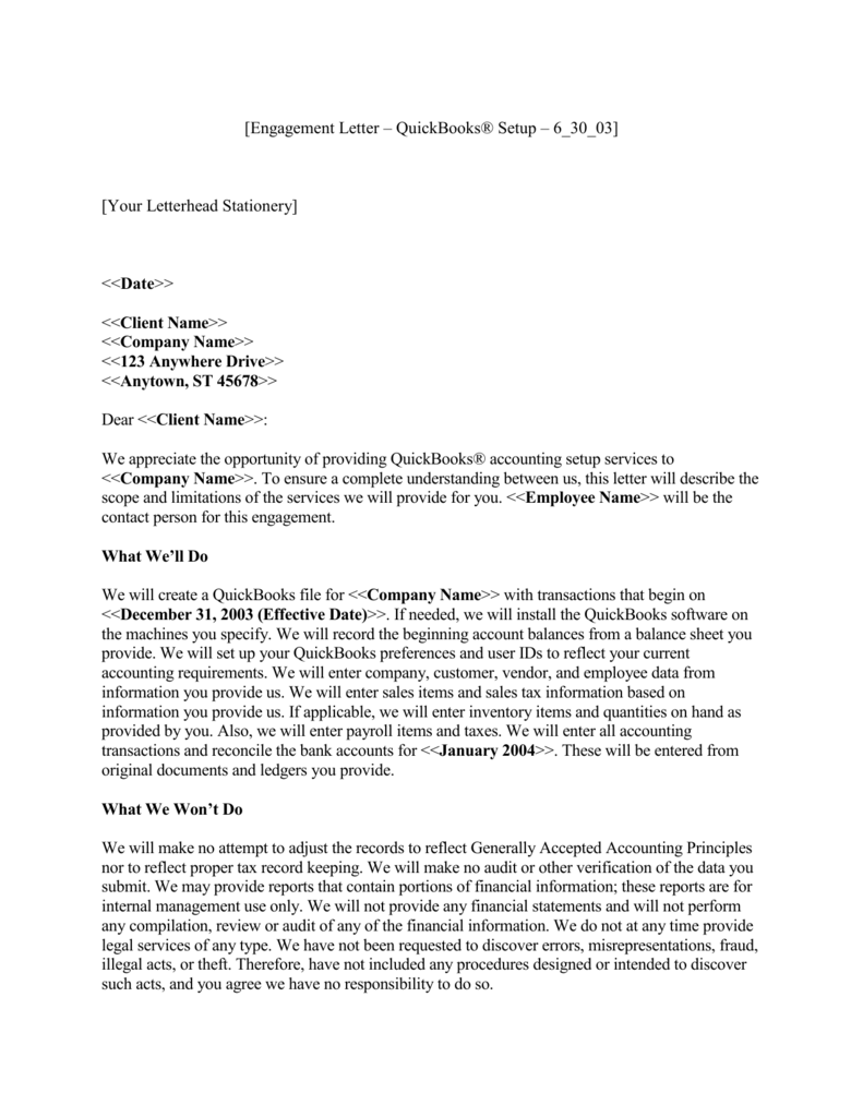 Sample Engagement Letter For Bookkeeping Services from s3.studylib.net