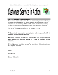 Unit 11: Developing Customer Relations