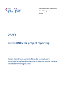 GUIDELINES for project reporting