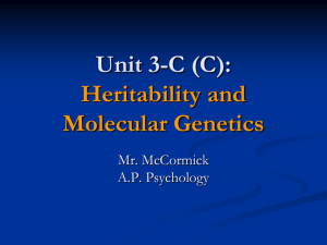 A.P. Psychology 3-C (C) - Heritability and Molecular Genetics