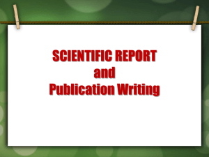 Scientific Report and Publication Writing