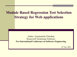 Module Based Regression Test Selection Strategy for Web