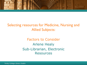 Selecting resources for Medicine, Nursing and Allied Subjects