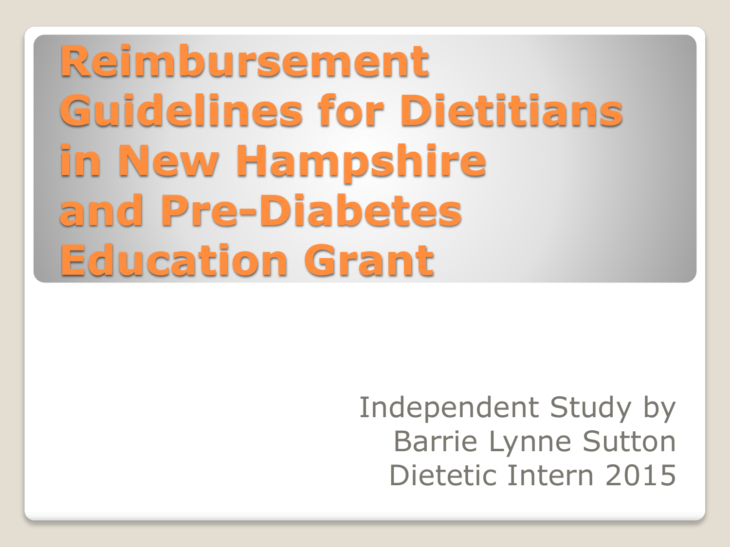 Reimbursement Guidelines for Dietitians in New Hampshire and