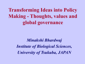 Transforming ideas into policy making