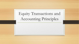 Equity Transactions and Accounting Principles