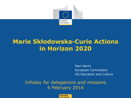 Opportunities Offered by the Marie Skłodowska-Curie Actions