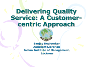 Delivering Quality Service: A Customer