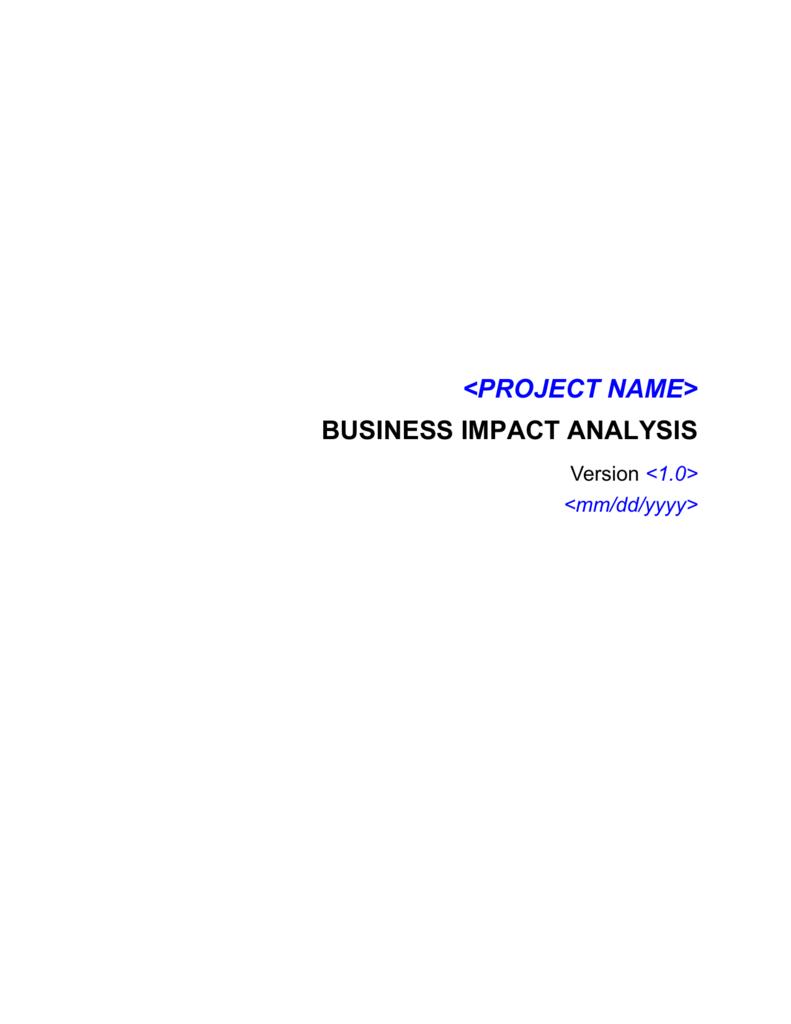 Business Impact Analysis Bia