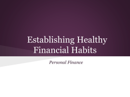 Establishing Healthy Financial Habits