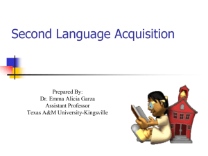 Second Language Acquisition - Office for Improving Second