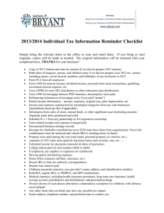 2013/2014 Individual Tax Information Reminder Checklist