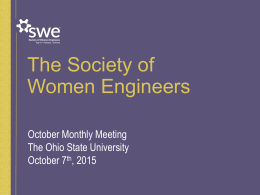 October 2015 Presentation - Society of Women Engineers