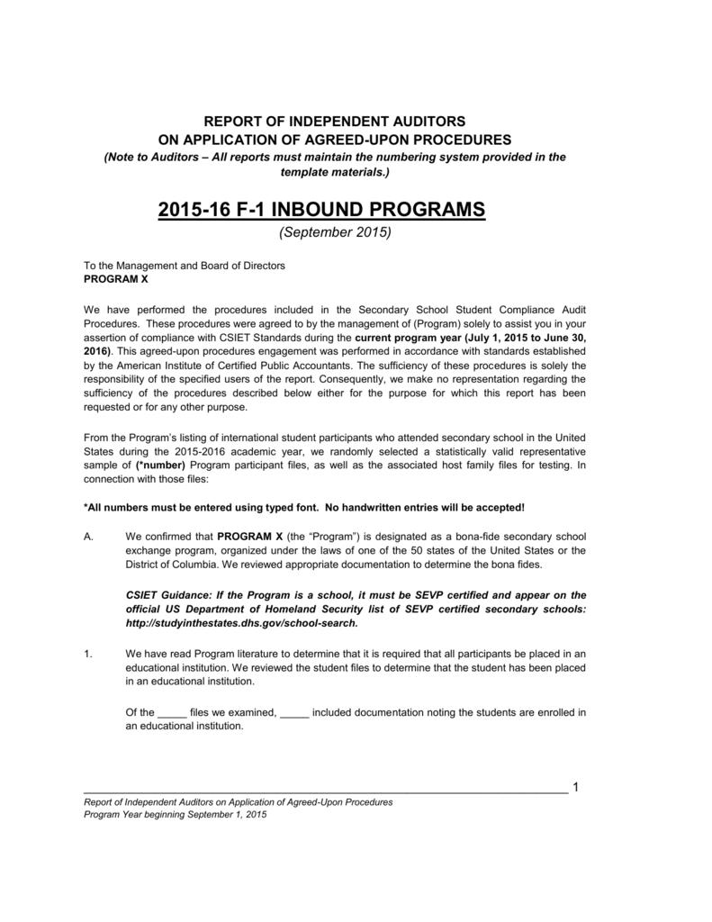 F 1 Compliance Audit Report