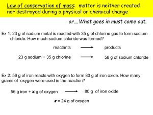 mass and conservation of mass calculations