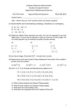 First Term Exam Logic and Discrete Structures March 08