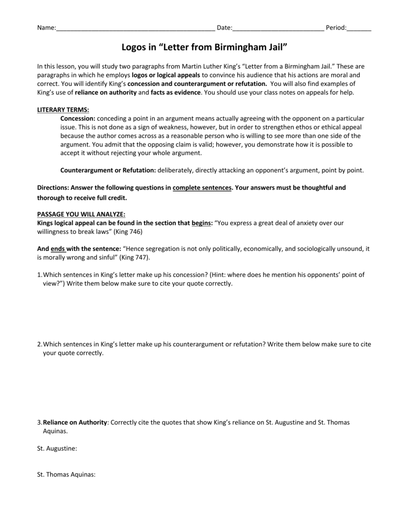 letter from birmingham jail argument analysis
