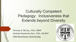 Culturally Competent Pedagogy: Inclusiveness that Extends beyond
