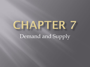 Chapter 7- Demand and Supply