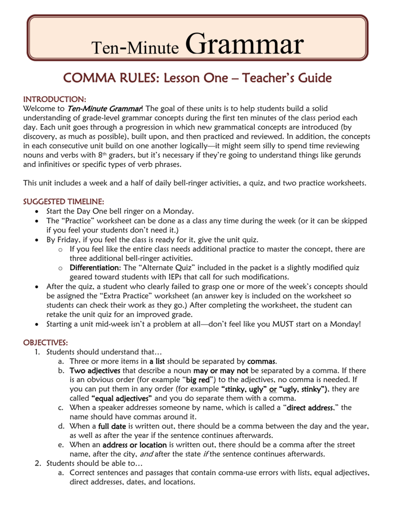 worksheet Comma Rules Worksheet comma rules one