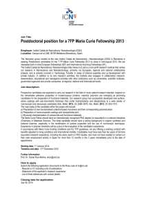 Postdoctoral position for a 7FP Marie Curie Fellowship 2013