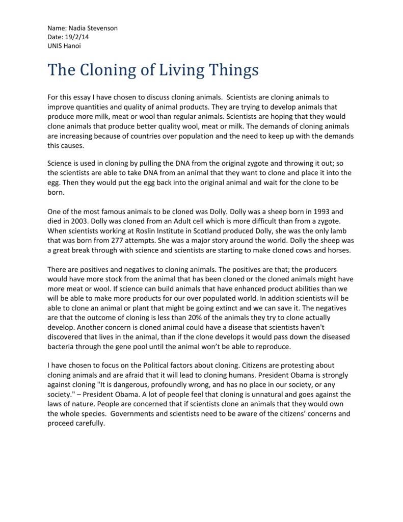 essay on cloning of humans