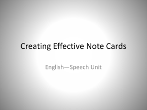 Creating Effective Note Cards
