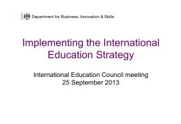 Implementing the International Education Strategy