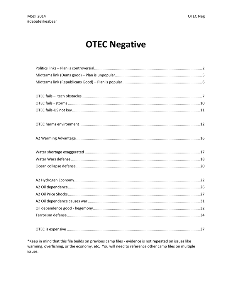 OTEC is expensive - Open Evidence Project