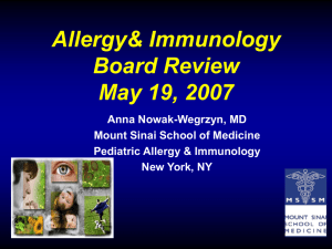 Anaphylaxis and the Role of Allergens in Childhood