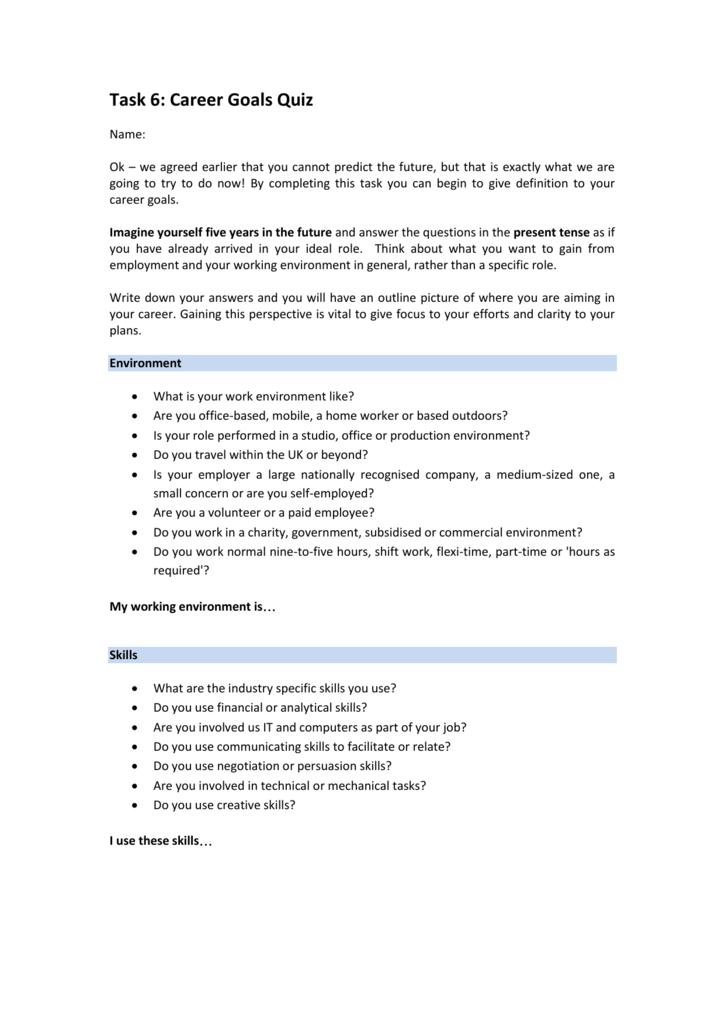 Task 6: Career Goals Quiz