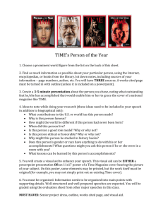 TIME's Person of the Year 1. Choose a prominent world figure from