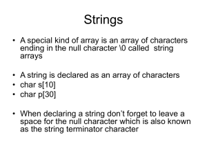 C Programming Strings and Characters