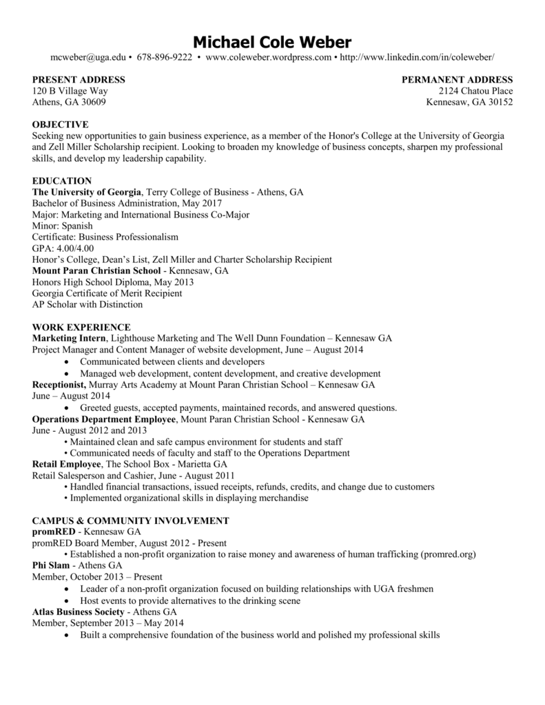 Michael Cole Weber Resume 1 Page