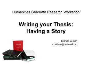 Writing your Thesis - Humanities Office of Research and Graduate