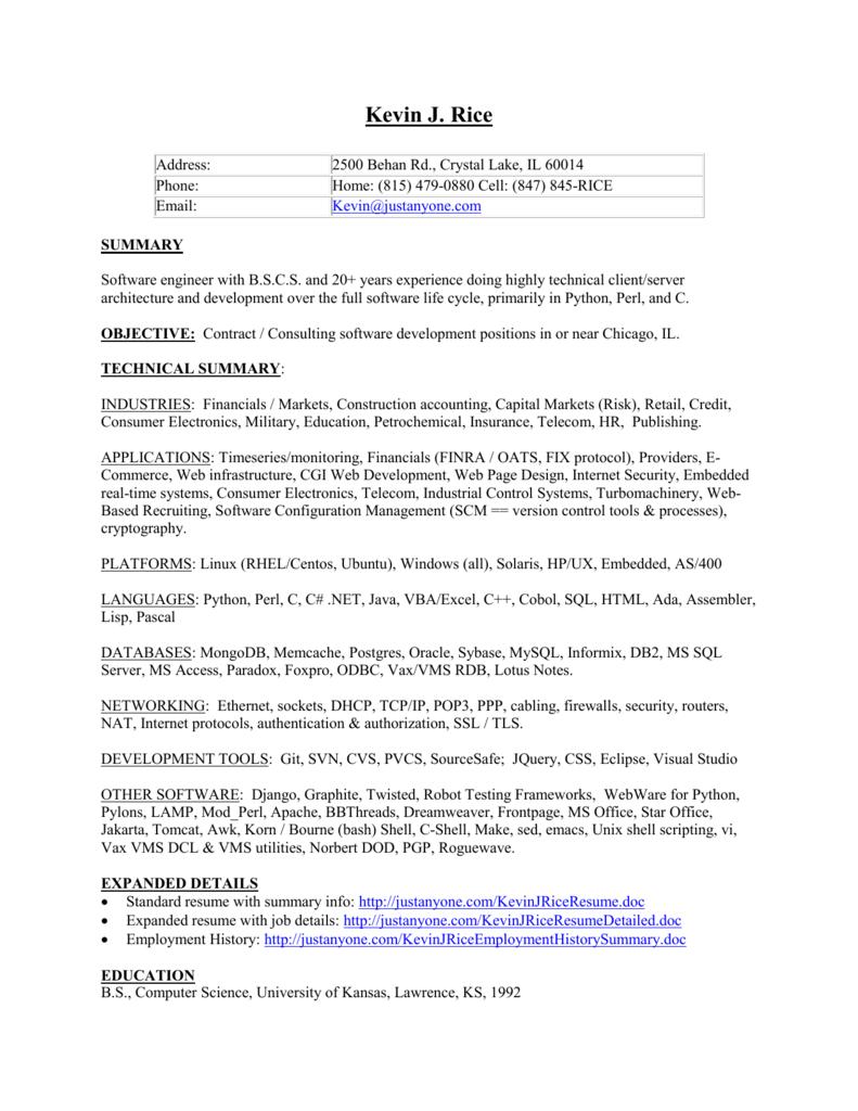 My Resume, detailed version