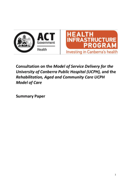 The UCPH Model of Service Delivery - ACT Health